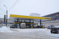 Full gas station in winter time Stock Images