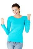 Full gest för vinnare för längdkvinnadanande arkivbild