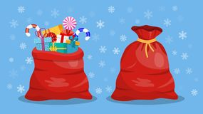 Full gift open and closed santa claus red bag. royalty free illustration