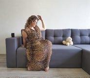 Full girl the sofa teddy bear toy holding relax stock photos