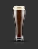 Full glass of dark black beer with froth. Full glass of black craft beer with froth on top. Isolated on dark background with shadow. Vector illustration Stock Images