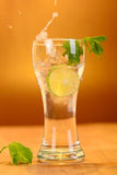 Full glass of fresh cool tonic with lime fruits Stock Images