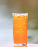 Full glass of fresh iced orange juice Stock Photos