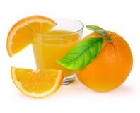 Full glass of fresh orange juice and fruit. S on a white Royalty Free Stock Image