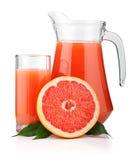 full glass grapefrukt isolerad tillbringarefruktsaft Arkivfoto