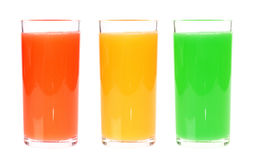 Full glass juice isolated on white background. Three full glass juice isolated on white background Stock Photo