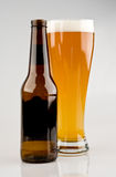 Full Glass of Light Beer with Bottle Royalty Free Stock Photography