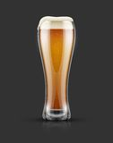 Full glass of light lager beer with froth. On top.  on dark background with shadow. Vector illustration Royalty Free Stock Photo