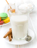 Full glass of milk with sugar and honey Stock Photography
