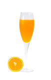 Full glass of orange juice and orange fruit on white background Royalty Free Stock Photos