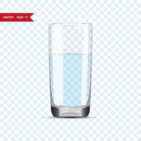 Full glass of water cup with shadow Royalty Free Stock Photos
