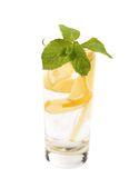 Full glass of water with lemon and mint Stock Photo