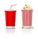Full glasses with drink and popcorn Stock Photo