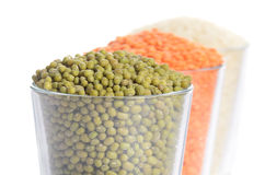 Full glasses with mung, lentil and rice Royalty Free Stock Photos