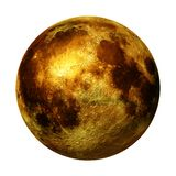 Full golden Moon isolated on white background 3d space rendering, elements of this image are furnished by NASA. Beautiful gold Moon, stylized satellite of planet royalty free stock image
