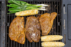 Full Grill. A piece of Steak with scallions and corn Stock Photos