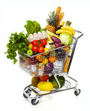 Full grocery cart. Full shopping grocery cart. Isolated on white background Royalty Free Stock Photo
