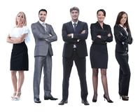 In full growth.boss and his business team standing together royalty free stock photo