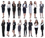 In full growth.collage of a group of successful young business women. royalty free stock images
