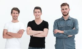 Group of young men in casual clothes royalty free stock photo