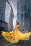 Full growth portrait of fashionable woman on urban background Royalty Free Stock Photos
