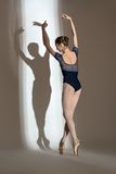 Full growth portrait of the graceful ballerina in Royalty Free Stock Photos