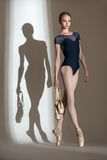 Full growth portrait of the graceful ballerina in Stock Photos