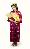 Full growth portrait of kimono caucasian woman Royalty Free Stock Photo