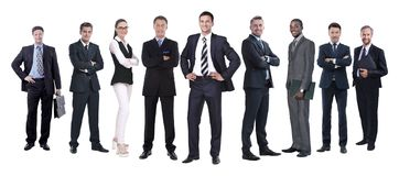 In full growth.professional business team isolated on white. Background royalty free stock photos