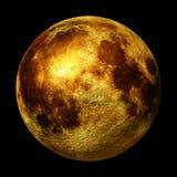 Full guld- måne som isoleras på svart bakgrund, tolkning för utrymme 3d Arkivfoto