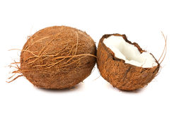 Full and half of coconut. Fresh full and half of coconut on white background Royalty Free Stock Photo