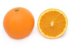 Full and Half Orange. Isolated on white royalty free stock photos