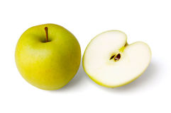 Full and half a yellow apple Royalty Free Stock Photography