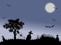 full halloween moonnatt stock illustrationer