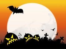 full halloween moonnatt royaltyfri illustrationer
