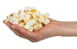 Full hand popcorn isolated on white Stock Images