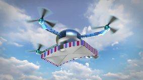 Drone with letters background royalty free illustration