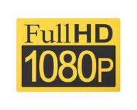 Full HD 1080p Icon Isolated. On white background. 3D render Stock Photography