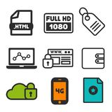 Full HD 1080p icon. Laptop statistics symbol. Cloud Security and Website Security icons. Shopping label sign. Favorite and Smartphone 4G icons. Eps10 Vector Royalty Free Stock Image