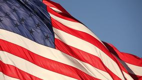 Full HD right facing American flag slow motion waving in wind