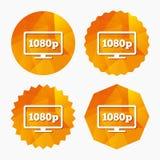 Full hd widescreen tv. 1080p symbol. Stock Image