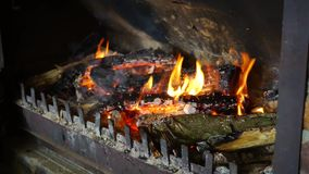 Full HD Wood Burning in Fireplace stock video