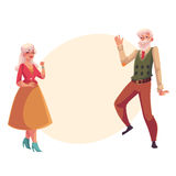 Full height portrait of old, senior couple dancing together Stock Photography