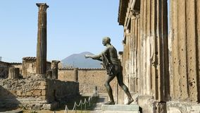 Full-height statue of Apollo standing near Temple of Apollo in Pompeii, sequence. Stock footage stock video