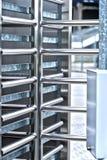 Full-height turnstile guarded stadium entrance Stock Image