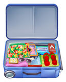 Full holiday vacation suitcase. Illustration of a full holiday vacation suitcase with all the essentials like summer clothing, sunglasses, sun cream, books and Royalty Free Stock Images