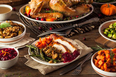 Full Homemade Thanksgiving Dinner. With Turkey Stuffing Veggies and Potatos royalty free stock photos