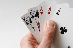 Full House. Hand holding a full house of cards Royalty Free Stock Photos