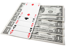 Full house. Of cards and dollar bills Royalty Free Stock Photo
