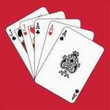 Full house aces jacks on red Royalty Free Stock Photo